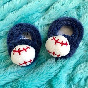 Navy Blue Baby Baseball Slippers
